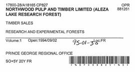 Timber Sale Licence - Northwood Pulp and Timber Limited (A18165 CP827)