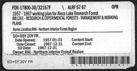 Aleza Lake Research Forest - Management and Working Plan - 1957-1967
