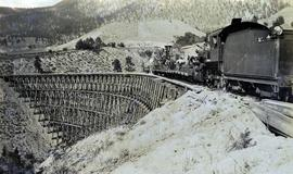 Work train on Sallus Creek railway trestle