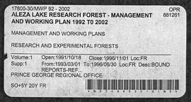 Aleza Lake Research Forest - Management and Working Plan - 1992-2002 - Supplement