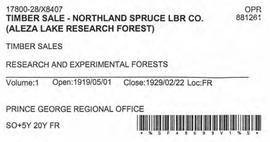 Timber Sale Licence - Northland Spruce Lumber Company (X8407)