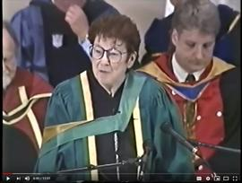Bob Harkins television excerpts and UNBC Convocation address by Bridget Moran (1995)