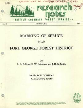 Marking of Spruce in the Fort George Forest District