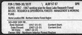 Aleza Lake Research Forest - Management and Working Plan - 1957-1967 - Supplement
