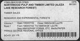 Timber Sale Licence - Northwood Pulp and Timber Limited (A18165 CP825) - Supplement