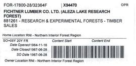 Timber Sale Licence - Fichtner Lumber Company Limited (X94470)
