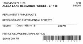 Aleza Lake Research Forest - Growth & Yield 59-71-R 97 - Experimental Plot 118