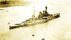 H.M.S. Repulse battle cruiser warship at Prospect Point with 1924 Special Service Squadron