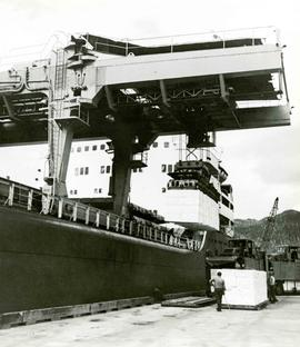 Over-running crane loading or unloading pulp bales onto or from a ship