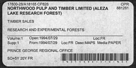 Timber Sale Licence - Northwood Pulp and Timber Limited (A18165 CP826) - Supplement