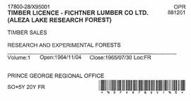 Timber Sale Licence - Fichtner Lumber Company Limited (X95001)