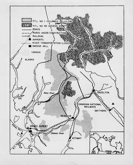 Map of area covered by Tree Farm Licences no. 1 and no. 40 for Columbia Cellulose and Skeena Kraft
