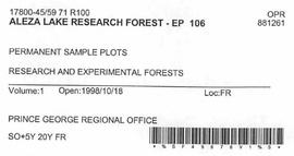 Aleza Lake Research Forest - Growth & Yield 59-71-R 100 - Experimental Plot 106