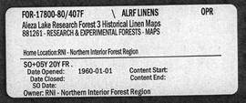 Aleza Lake Research Forest Historical Linen Maps