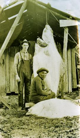 Arthur Collison and 'Noah' standing with catch at Kincolith, BC