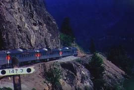 Pacific Great Eastern Railway (PGE) Budd Car running along Seton Lake