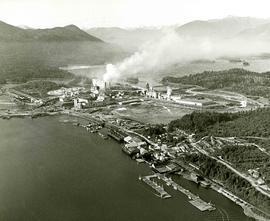 Aerial view of Columbia Cellulose Sulphite mill and Skeena Kraft mill