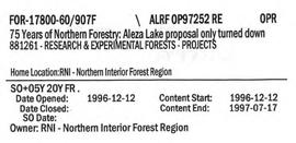 75 Years of Northern Forestry: Aleza Lake proposal