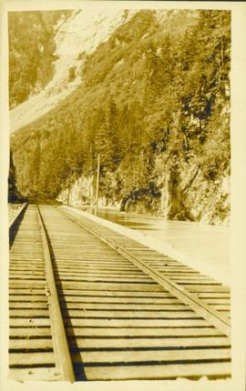 Railroad track in mountain pass