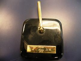 "Pen holder with etched ""Iona"" nameplate"
