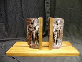 Cuban bookends with wooden figures and base