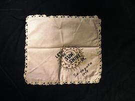 "Skidegate handkerchief with words ""Let the sun shine in Skidegate 1978"""