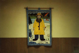 "Queen Charlotte City community hall tapestry ""Girl on Beach"""