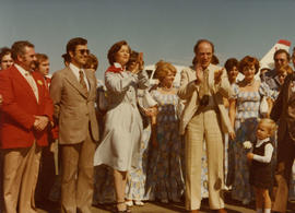 Iona Campagnolo with Pierre Elliott Trudeau and crowd in Nova Scotia