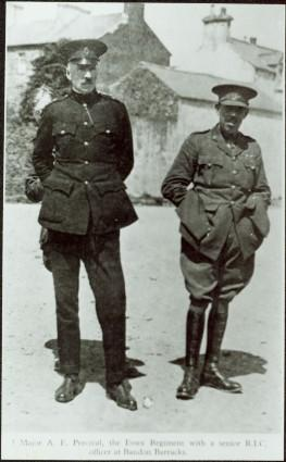 Major A.E. Percival, the Essex Regiment, with senior R.I.C. officer at Bandon Barracks