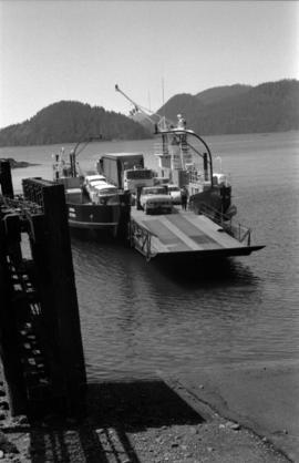 """Kwuna"" ferry coming into the landing at Sandspit, Queen Charlotte Islands"