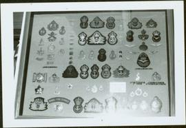 Framed collection of badges from the Royal Canadian Naval Air Service and Naval Fire Service