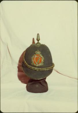 Closeup of Royal Irish Constabulary helmet