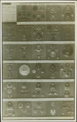 Closeup of an exhibit of badges of the Royal Air Force