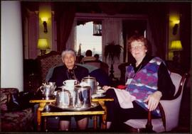 Close View of Bridget Moran & Mary John Having Tea at the Empress Hotel in Victoria, BC -