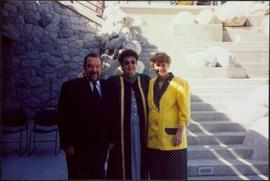 Briget Moran with Bob Harkins and Unidentified Woman in UNBC Courtyard