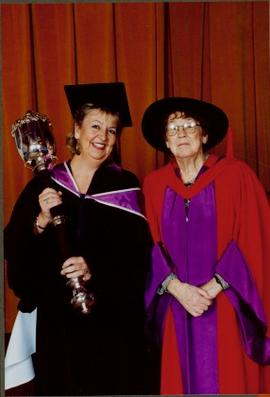 Bridget Moran with Unidentified Woman holding University of Victoria Scepter