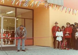 Herbert Maitland cutting the ribbon at opening of Haisla Recreation Centre in Kitamaat Village