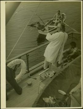 Fishing off the M.S. Columbia