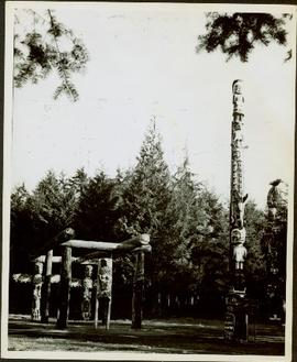 Alert Bay totem poles and house posts