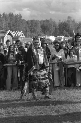 First Nations dancer Leonard George surrounded by crowd at the Bulkley Valley Exibition in Smithers