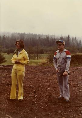 Iona Campagnolo and man at opening of the Kitimat Fitness Trail