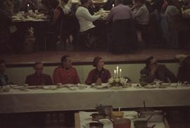 Head table at New Aiyansh potluck with Iona Campagnolo, chief Johnny Clifton, RCMP constable, and...