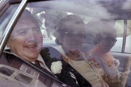 Godfrey and Vicki Kelly in car after 50th wedding anniversary celebration in Masset