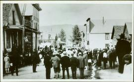 Crowd Gathered in Street at Barkerville, BC