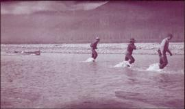 Taku River Survey - Three Men Hauling Canoe