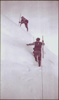 Taku River Survey - Two Men Hiking in Snow