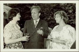 M.P. Iona Campagnolo speaking to Unidentified Man and Woman