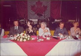 M.P. Iona Campagnolo seated at reception in Jeanne Sauvé's riding, Ahuntsic, late 1974