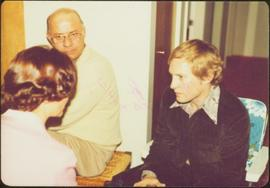 'Living Room Speech,' Terrace, 1975 - Iona Campagnolo speaks with two unidentified men
