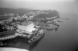Aerial view of ships in the Prince Rupert harbour